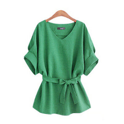 Fashion Women Short Sleeve Loose Bowknot T-shirt Blouse Tops With Belt Green XL