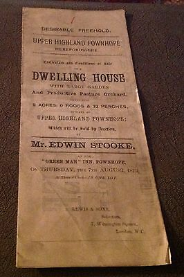 1873 Sale Particulars Upper Highland Fownhope Herefordshire