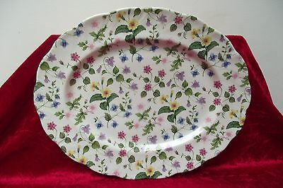 Rare Queen's Bone China 'Country Meadow' 13.5'x10.5' Serving Plate 2nd Quality