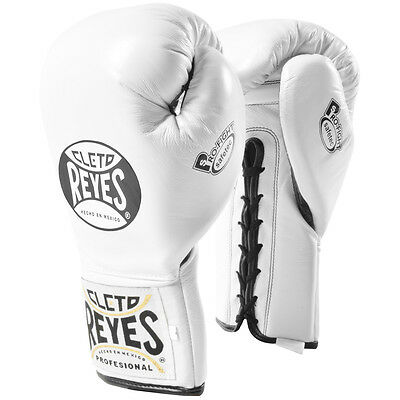 Cleto Reyes Safetec Professional Boxing Fight Gloves - 10 oz - White