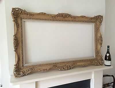Large Rococo Style Vintage Wood Picture Frame Swept Corners Mid 20th Century