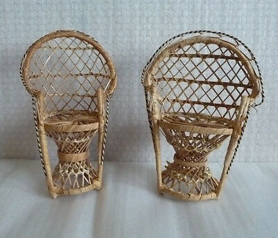Pair of Wicker Doll Chairs suitable for Barbie/Sindy