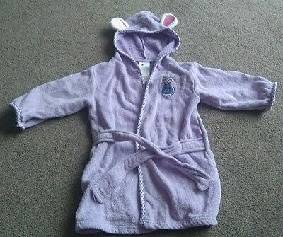 Cute Baby Girls Purple Mouse Design Hooded Dressing Gown Robe  0-12 Months