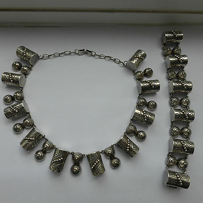 Signed Mexican Mexico Taxco Silver Necklace Bracelet Modernist 1940 50 Rare set