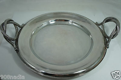 Modernist Silver Plate Butler's Serving Tray Round W/fancy Twisted Handles