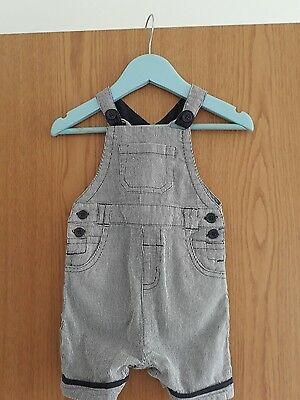 TU Baby boys dungarees navy and white stripe. Age 6-9 Months. BNWOT