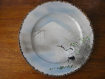 Antique Japanese eggshell porcelain plate with hand painted birds