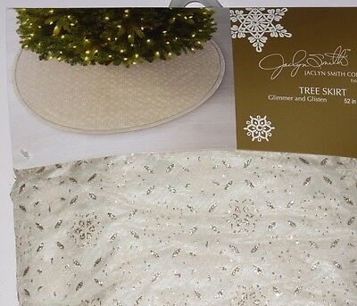 Christmas Tree Skirt 52 inches Off white w/Gold, Jaclyn Smith, New w/Tag