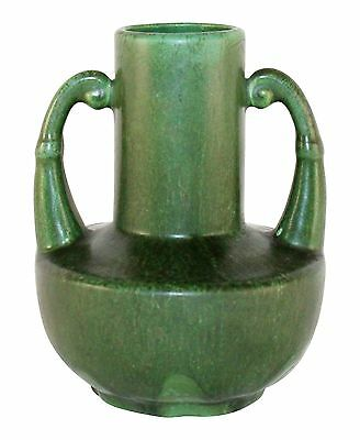Hampshire Pottery Matte Green Handled Vase