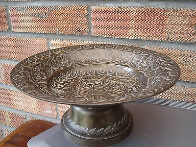 Indian Etched/Engraved Brass Tazza or Compote/Comport with Floral pattern.