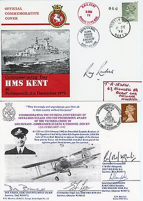 2 RARE First Day Covers, ROYAL NAVY, SIGNED BY WW2 DECORATED AIRCREW & AVIATORS