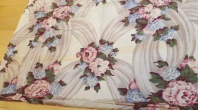 1940s Rayon Curtain Pink and Blue Flowers / Vintage fabric / 1 panel 128'x43'