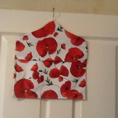 Quality Handmade Poppies PVC Peg Bag With Wooden Hanger & Envelope Closure