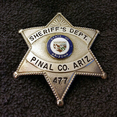 Early Obsolete Pinal County Arizona Sheriff Dept Police Officer Badge Silver