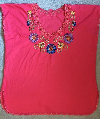 Authentic Mexican Crop Top Blouse With Embroidered Flowers L-XL