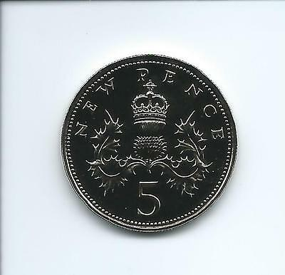 1976 Royal Mint Proof 5p coin taken from a Royal Mint Proof Set.
