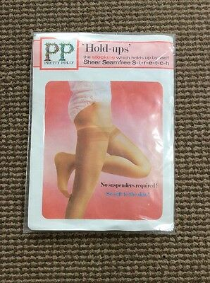 """VINTAGE PRETTY POLLY HOLD UP STOCKINGS SHEER HIGHLIGHT Foot Size 10 1/2""""-11"""""""