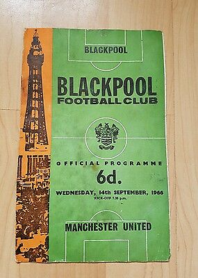 Blackpool v Manchester United match programme League Cup 66/67
