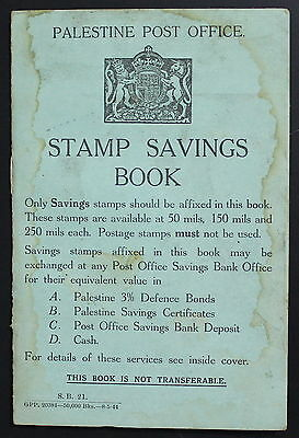 Palestine Post Office Stamp Savings Book, 1940's #a750