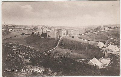 Postcard of Manorbier Castle and Village. 1908