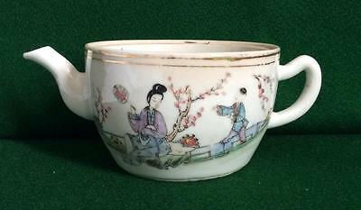 Antique 17Th - 18Thc Chinese Hand Painted Porcelain Teapot Figures Characters