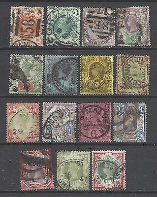 British stamps Queen Victoria Jubilee gb full set defins old stamps inc SG214