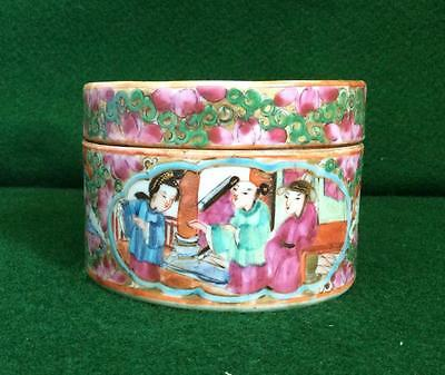 Antique 19Thc Chinese Famille Rose Hand Painted Porcelain Pot With Lid