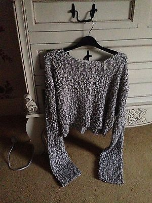 Vintage 80's Jeffrey Rogers - Brown & White Baggy Cropped Slouch Jumper M / L