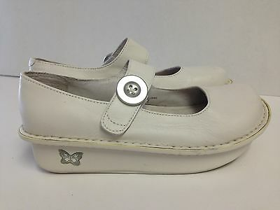 Alegria Pg Lite White Leather Mary Jane Occupational Shoes Women's Size 37