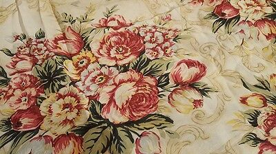 1940s Rayon Curtain Beige with Red Peony Flowers Vintage fabric 1 panel 88'x66'