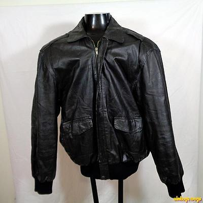 WIMAN Leather FLIGHT Bomber JACKET Mens Size L large black insulated