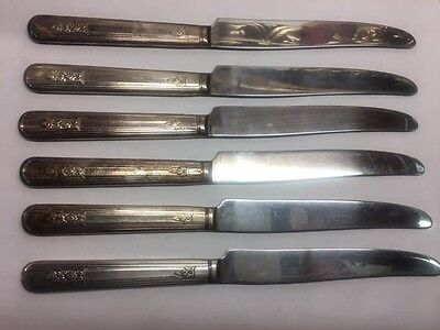 Set of 6 Oneida Ltd Wm A Rogers A1 Plus Rosalie Silverplate Dinner Knives