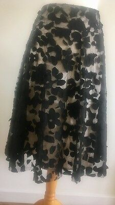 Stunning Black Lace Full Circle Skirt, fully Lined- size 12