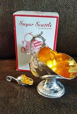 LEONARD SILVER PLATE SCUTTLE SET w/Scoop~ SUGAR BOWL ~ CANDY DISH