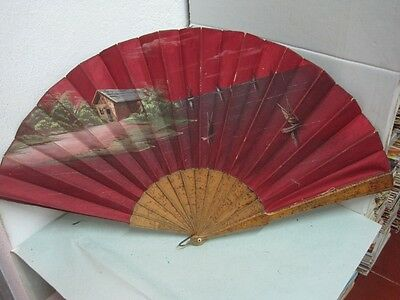 Antique big  Fan in wood and fabric hand painted a house and birds