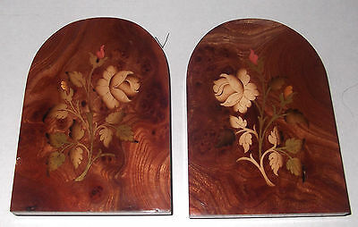 Vintage, Hand-Made Italian Marquetry Folding Bookends -Rare Wood Veneers, Floral