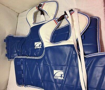 2 SMALL, TGTMA Taekwondo Reversible Chest Guard Body Protector Sparring