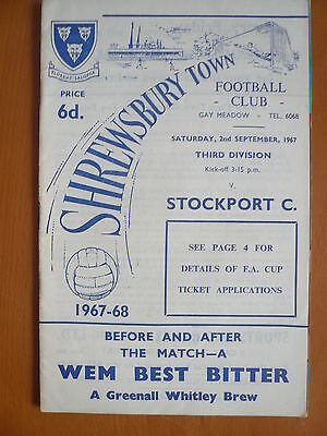 67/68 - SHREWSBURY TOWN v STOCKPORT COUNTY - DIVISION 3 - EXC
