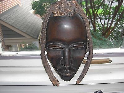 Rare Antique African Dan Wood Tribal Mask W/woven Hemp