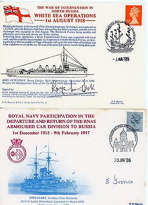 2 RARE First Day Cover, WW1, Royal Navy, Signed ADMIRAL DSC ,  & Battleship Crew
