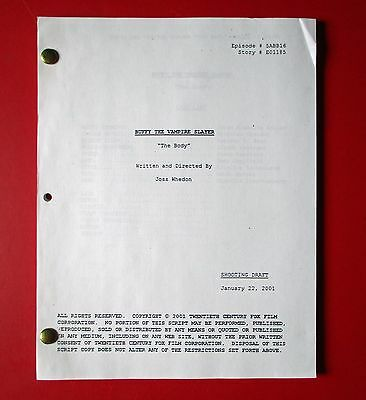 "Buffy The Vampire Slayer - SCRIPT - ""The Body"" - (2001) - Shooting Draft - RARE"