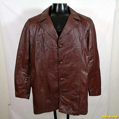 Vintage 70s FIGHT CLUB LEATHER Jacket Car Coat Mens 46 Size XL Brown
