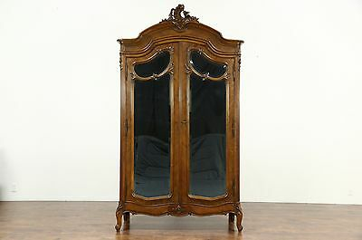 French Antique Shell Carved Walnut Armoire, Beveled Mirror Doors