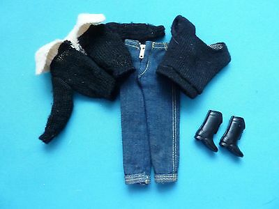 Vintage Barbie Black Cardigan, Sweater, Jeans & Black Boots From 1960's