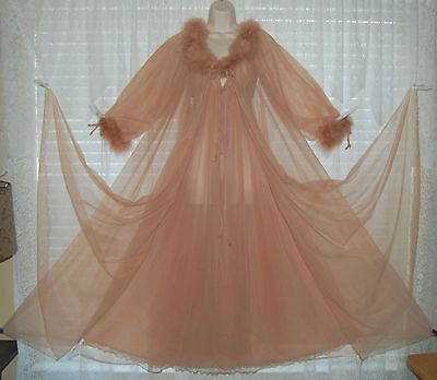 Vtg INTIME Sheer Chiffon Peignoir Robe Nightgown Gown Negligee MARABOU S