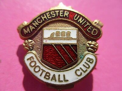 VINTAGE..MANCHESTER UNITED FOOTBALL CLUB..RED & WHITE ENAMEL with GILT PIN BADGE