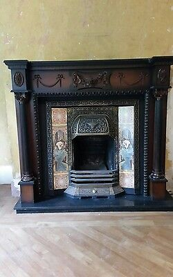 victorian cast iron fireplace and wooden surround