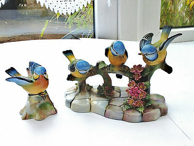 Royal Adderley Bone China Triple & Single Blue Tit Birds Figurines