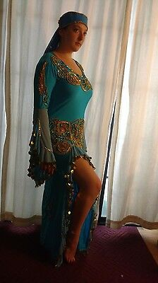 Embellished aqua blue belly dance dress - large and stretchy material for dance
