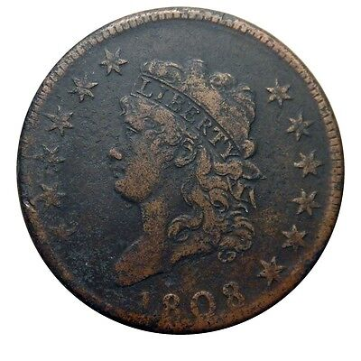 Large cent/penny 1808 shattered die reverse higher grade details